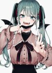 1girl :d absurdres artist_name bandaid bandaid_on_neck bangs bizet black_nails black_ribbon black_skirt center_frills character_request check_character choker detached_wings earrings eyebrows_visible_through_hair fangs frills hair_ribbon hands_up hatsune_miku heart_ring highres jewelry long_hair long_sleeves looking_at_viewer mask mouth_mask nail_polish open_mouth red_ribbon ribbon ring shiny shiny_hair simple_background skirt smile solo symbol_commentary twintails upper_body vocaloid white_background wings