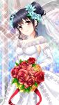 1girl bangs black_hair blue_flower bouquet breasts closed_mouth collarbone detached_sleeves double_bun doukyuusei dress eyebrows_visible_through_hair flower game_cg hair_between_eyes hair_flower hair_ornament holding holding_bouquet indoors long_dress long_sleeves looking_at_viewer medium_breasts narusawa_yui off-shoulder_dress off_shoulder official_art red_eyes red_flower red_rose rose shiny shiny_hair sleeveless sleeveless_dress smile solo sparkle standing tied_hair wedding_dress white_dress white_sleeves yellow_flower yellow_rose