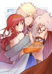 1boy 1girl :o bakugou_katsuki bangs bare_shoulders blonde_hair blue_dress blush boku_no_hero_academia cape commission dress earrings fur-trimmed_cape fur_trim grey_jacket hakamii highres hug jacket jewelry long_hair long_sleeves looking_at_viewer necklace official_alternate_costume open_mouth original red_cape redhead shiny shiny_hair short_hair teeth upper_body white_background yellow_eyes