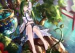 1girl arm_up barefoot blue_skirt breasts bucket closed_mouth commentary_request daisy day detached_sleeves expressionless flower foot_out_of_frame frog_hair_ornament green_eyes green_hair hair_ornament kochiya_sanae light_blush long_hair medium_breasts midriff navel outdoors pink_flower rei_(farta_litia) shirt skirt solo torii touhou very_long_hair water white_shirt