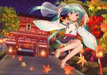 1girl absurdres aqua_eyes aqua_hair arms_up autumn autumn_leaves bangs black_skirt closed_mouth commentary_request detached_sleeves frilled_skirt frills geta hair_between_eyes hair_ribbon hatsune_miku highres iluka_(ffv7) japanese_clothes jumping kyoto lantern leaf long_hair maple_leaf night night_sky nontraditional_miko ribbon shirt shrine skirt sky sleeveless sleeveless_shirt smile solo spring_onion stairs star_(sky) thigh_strap tree twintails veil vocaloid white_shirt wide_sleeves
