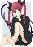 1girl animal_ears bad_feet bangs black_bow blunt_bangs blush bow braid cat_ears cat_tail closed_mouth dress extra_ears eyebrows_visible_through_hair full_body green_dress grey_background hair_bow hand_up highres kaenbyou_rin long_hair looking_at_viewer multiple_tails nail_polish nekomata red_eyes red_nails redhead simple_background sitting smile soles solo stigma1101 tail toes touhou twin_braids twintails two_tails