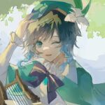 1boy androgynous bangs beret black_hair blue_hair bow braid brooch cape collared_cape collared_shirt dappled_sunlight english_commentary flower frilled_sleeves frills genshin_impact gradient_hair green_eyes green_headwear hand_on_own_head hat hat_flower holding holding_instrument instrument jewelry leaf long_sleeves looking_at_viewer lyre male_focus multicolored_hair one_eye_closed open_mouth remy5621 shirt short_hair_with_long_locks smile solo sunlight twin_braids venti_(genshin_impact) white_flower white_shirt