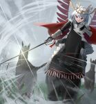 1girl absurdres akinakesu-chan animal animal_ear_fluff animal_ears armor armored_boots bangs boots closed_mouth clouds commentary copyright_request emphasis_lines english_commentary eyebrows_visible_through_hair gauntlets grey_hair grey_sky headpiece highres holding holding_sword holding_weapon horse horseback_riding outdoors red_eyes riding smile solo sword v-shaped_eyebrows weapon