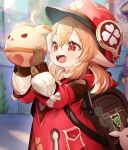 1girl :d absurdres backpack bag bangs blonde_hair blurry blurry_background bow brown_gloves cabbie_hat commentary_request day depth_of_field dress eyebrows_visible_through_hair genshin_impact gloves hair_between_eyes hands_up hat hat_feather highres holding klee_(genshin_impact) lolo_(kemonono) long_sleeves looking_away low_twintails open_mouth outdoors pointy_ears puffy_long_sleeves puffy_sleeves red_dress red_eyes red_headwear sleeves_past_wrists smile solo twintails white_bow white_feathers