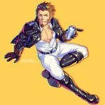 1boy absurdres alternate_costume blue_eyes brown_hair eyewear_on_head facial_hair fate/grand_order fate_(series) from_above full_body goatee highres huge_filesize jacket leather leather_jacket long_sideburns looking_at_viewer male_cleavage male_focus mature_male muscular muscular_male napoleon_bonaparte_(fate) pants partially_unbuttoned pectorals scar scar_on_chest short_hair sideburns solo sunglasses tight tight_pants white_pants yaosan233