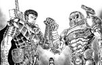 2boys berserk black_hair cacodemon character_request clenched_hand crossover cyclops dagger doom_(series) doomguy eye_contact fist_bump greyscale gun guts_(berserk) helmet highres horns looking_at_another missing_eye monochrome multiple_boys muscular muscular_male one-eyed pouch power_armor sheath sheathed standing substance20 sword weapon