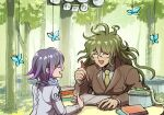 2boys :d bangs blue_butterfly book book_stack box brown_jacket bug butterfly checkered checkered_scarf closed_eyes collared_shirt danganronpa_(series) danganronpa_v3:_killing_harmony facing_another forest glasses gokuhara_gonta green_hair grey_jacket grey_scarf highres holding holding_pencil insect jacket long_hair long_sleeves medium_hair messy_hair multicolored_hair multiple_boys nature necktie open_mouth ouma_kokichi outdoors pencil pink_hair purple_hair purple_scarf rimless_eyewear scarf school_uniform shiny shiny_hair shirt smile table tree two-tone_hair youko-shima
