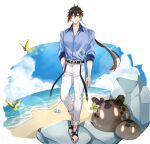 1boy alternate_costume bangs beach black_hair blue_shirt brown_hair bug butterfly closed_mouth clouds cloudy_sky collared_shirt conch day earrings english_commentary eyeliner eyeshadow full_body genshin_impact gradient_hair hair_between_eyes hand_in_pocket highres insect jewelry long_hair long_pants looking_at_viewer makeup male_focus multicolored_hair ocean outdoors pants ponytail red_eyeshadow rock sand shell shirt simple_background single_earring sky sleeves_rolled_up slime_(creature) slime_(genshin_impact) slippers smile solo standing sushisalmon95 symbol_commentary tassel tassel_earrings water white_background yellow_eyes zhongli_(genshin_impact)