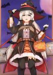 1girl absurdres asymmetrical_legwear bangs bat black_gloves black_legwear bucket eyebrows_visible_through_hair feet_out_of_frame fingerless_gloves girls_frontline gloves grey_eyes halloween halloween_bucket halloween_costume hand_on_headwear hat highres holding holding_bucket long_hair looking_up moon muteppona_hito night night_sky open_mouth silver_hair sky solo standing svd_(girls_frontline) thigh-highs weapon_case witch_hat