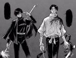 1boy 1girl arm_up bandage_over_one_eye bangs belt blank_speech_bubble blood blood_on_face bloody_clothes burn_scar capelet closed_mouth cowboy_shot greyscale high_collar highres holding holding_polearm holding_sword holding_weapon jacket jujutsu_kaisen katana long_sleeves looking_at_viewer maga_(comicfans100) monochrome okkotsu_yuuta pants pointing pointing_at_self polearm scabbard scar sheath short_hair smile speech_bubble spoilers standing sword weapon zen'in_maki