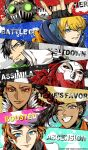 3boys 4girls \n/ apex_legends bangs black_eyes black_hair black_headwear blonde_hair blue_eyes brown_hair crypto_(apex_legends) dark_skin dark_skinned_female earrings eyebrows_visible_through_hair eyeshadow facial_mark forehead_mark goggles goggles_on_head gradient_hair hair_behind_ear highres horizon_(apex_legends) humanoid_robot jacket jewelry loba_(apex_legends) makeup mask mouth_mask mozuwaka multicolored_hair multiple_boys multiple_girls nose_piercing nose_ring octane_(apex_legends) one_eye_closed orange_hair orange_jacket piercing rampart_(apex_legends) red_bandana red_eyeshadow redhead revenant_(apex_legends) science_fiction simulacrum_(titanfall) wattson_(apex_legends) white_jacket