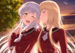 2girls arm_around_shoulder arm_on_shoulder assault_lily blonde_hair blurry blurry_background blush breasts closed_eyes collarbone commentary evening eyebrows_visible_through_hair hand_on_another's_shoulder hand_up highres kon_kanaho leaf lens_flare light_blush long_hair miyagawa_takane multiple_girls necktie nuenue one_eye_closed open_mouth outdoors pagoda parted_lips school_uniform silver_hair small_breasts smile sunlight sunset tree upper_body upper_teeth yellow_eyes yuri yurigaoka_girls_academy_school_uniform