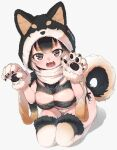 1girl :3 :d animal_hood bangs black_hair breasts brown_eyes claws cleavage_cutout clothing_cutout dog_girl dog_hood dog_tail eyebrows_visible_through_hair fang fangs fur-trimmed_gloves fur-trimmed_hood fur-trimmed_legwear fur_trim gloves hood hoof large_breasts looking_at_viewer multicolored_hair nyifu open_mouth original panties paw_gloves paws seiza short_eyebrows side-tie_panties simple_background sitting smile solo string_panties tail teeth thick_eyebrows thigh-highs twitter_username underwear white_background white_hair