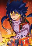 1boy :d aigami blue_hair bracelet facial_mark floating_hair hair_tubes highres jewelry long_hair long_sleeves looking_at_viewer mini_(pixiv6327751) open_mouth purple_shirt shirt smile solo twintails very_long_hair yellow_eyes yu-gi-oh! yu-gi-oh!_the_dark_side_of_dimensions