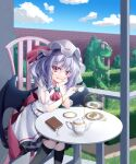 1girl ascot bat_wings black_legwear brick_wall closed_mouth clouds cup day dress fang feet_out_of_frame food hand_on_own_cheek hand_on_own_face hat highres holding holding_cup kneehighs macaron medium_hair mob_cap outdoors purple_hair red_eyes remilia_scarlet s_vileblood sitting skin_fang slit_pupils smile solo teacup teapot touhou white_dress wings