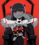 black_hair black_jacket collar crown dark_persona evil_smile fang finger_in_mouth frilled_collar frilled_jacket frilled_sleeves frills fur_collar gokou_ruri gothic_lolita highres hime_cut jacket king_(vocaloid) lolita_fashion long_hair mole mole_under_eye ore_no_imouto_ga_konna_ni_kawaii_wake_ga_nai red_background red_eyes rose_hair_ornament sisitou0 smile throne