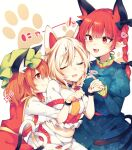 3girls animal_ear_fluff animal_ears bell black_bow bow braid brown_hair cat_ears cat_girl cat_tail chen closed_eyes dress fang goutokuji_mike green_headwear hair_bow hat heart heart_tail highres holding_hands kaenbyou_rin long_hair long_sleeves midriff mob_cap multicolored_hair multiple_girls nail_polish neck_bell pointy_ears red_eyes red_nails red_vest redhead short_hair short_sleeves simple_background skirt smile streaked_hair tail tama_(soon32281) touhou twin_braids vest white_background white_hair yuri