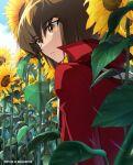 1boy 2019 bangs brown_eyes brown_hair dated duel_academy_uniform_(yu-gi-oh!_gx) eyebrows_visible_through_hair field flower flower_field hair_between_eyes jacket male_focus mini_(pixiv6327751) multicolored_hair outdoors parted_lips red_jacket solo sunflower twitter_username two-tone_hair yellow_flower yu-gi-oh! yu-gi-oh!_gx yuuki_juudai