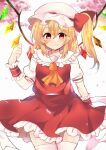 1girl :> blonde_hair blush bow breasts cherry_blossoms closed_mouth collarbone commentary_request cowboy_shot crystal eyebrows_behind_hair fang flandre_scarlet frilled_shirt_collar frills hair_between_eyes hair_bow hand_up hat highres looking_at_viewer mame._(mame_mochi) medium_hair mob_cap one_side_up orange_neckwear outdoors petticoat puffy_short_sleeves puffy_sleeves red_bow red_eyes red_skirt red_vest short_sleeves simple_background skin_fang skirt small_breasts smile solo thigh-highs touhou vest white_background white_legwear wings wrist_cuffs