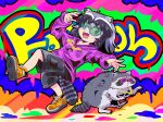 1girl alternate_costume animal animal_ears arm_up black_hair breast_pocket cargo_shorts chain chain_necklace character_name chibi colorful commentary_request common_raccoon_(kemono_friends) drawstring fangs foot_up full_body graffiti grey_hair highres hood hoodie jewelry kemono_friends leaning_back long_sleeves looking_at_viewer medium_hair multicolored_hair necklace open_mouth outstretched_arm pocket pose raccoon raccoon_ears raccoon_girl raccoon_tail shoes shorts smile sneakers striped striped_tail sunglasses tail umikaze_shuu white_hair