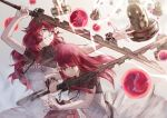 2girls aqua_eyes arms_up bangs blocking blunt_bangs breasts clenched_teeth commentary devola dress energy_ball fighting flower hair_flower hair_ornament highres holding holding_sword holding_weapon long_hair luciaz multiple_girls nier_(series) nier_automata popola redhead robot short_sleeves siblings sisters spoilers sword teeth twins weapon