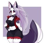 1girl 2021 animal_ear_fluff animal_ears animal_nose black_eyes black_gloves blush body_fur breasts collar collarbone colored_sclera cowboy_shot ear_piercing fingerless_gloves furry gloves grey_fur hand_on_hip helluva_boss highres large_breasts long_hair loona_(helluva_boss) piercing red_sclera shorts silver_hair snout solo spiked_collar spikes symbol_commentary tail tanookiluna twitter_username white_fur wolf wolf_ears wolf_girl wolf_tail