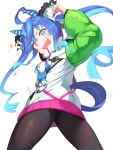 1girl @_@ absurdres ahoge animal_ears aqua_hair arm_up black_legwear black_ribbon blue_eyes blue_hair commentary_request gradient_hair green_sleeves hair_ribbon heterochromia highres hood hoodie horse_ears horse_girl horse_tail long_sleeves looking_at_viewer looking_back multicolored_hair open_mouth pantyhose pointing pointing_at_self red_eyes ribbon sharp_teeth solo stuffed_animal stuffed_bunny stuffed_toy tail teeth twin_turbo_(umamusume) twintails umamusume white_hoodie white_ribbon yamato_(muchuu_paradigm)