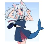 1girl animal_ears bangs blue_eyes blue_hair blush cat_ears do_m_kaeru fish_tail gawr_gura hair_ornament hololive hololive_english looking_at_viewer multicolored_hair open_mouth shark_tail sharp_teeth side_ponytail silver_hair smile streaked_hair tail teeth virtual_youtuber