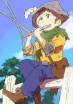 1boy be_(ronironibebe) brown_eyes brown_hair cape crutch hat instrument jimmy_valmer lute_(instrument) music paper_hat playing_instrument short_hair sitting sitting_on_fence solo south_park south_park:_the_stick_of_truth