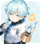 1boy ahoge bangs black_shirt blue_background border candy chongyun_(genshin_impact) commentary_request cropped_jacket food food_in_mouth genshin_impact giving green_eyes holding holding_candy holding_food hood hooded_jacket jacket konmamion light_blue_hair looking_at_viewer male_focus shirt short_hair simple_background snowflake_background solo spoken_star star_(symbol) upper_body white_jacket