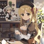 2girls album_cover apron bag beret blonde_hair bow bowtie breasts brown_eyes cafe cake cake_slice chocolate_cake cleavage_cutout clothing_cutout coffee cover cup food hair_ornament hair_ribbon hat holding holding_cup holding_tray indoors long_hair long_sleeves maid_headdress menu_board multiple_girls one_side_up original plant potted_plant puffy_sleeves ribbon short_sleeves shoulder_bag silver_hair sitting striped table tray twintails vertical_stripes wagashi928 waist_apron wrist_cuffs x_hair_ornament