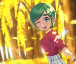 1girl blurry blurry_background dappled_sunlight eyebrows_visible_through_hair futomayu-chan_(sinohira_rin) ginkgo green_eyes green_hair grey_skirt highres looking_at_viewer one_eye_closed open_mouth original outdoors plaid plaid_skirt red_shirt shirt shirt_tucked_in short_hair sinohira_rin skirt smile solo sunlight