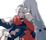2girls :o aqua_gloves arknights black_dress black_nails blush bright_pupils closed_mouth coldcat. dress gloves hand_on_another's_head hug long_hair long_sleeves multiple_girls nail_polish off-shoulder_dress off_shoulder parted_lips red_dress red_eyes silver_hair simple_background skadi_(arknights) skadi_the_corrupting_heart_(arknights) specter_(arknights) twintails upper_body very_long_hair white_background wide-eyed yuri