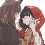 2girls animal_ears big_bad_wolf_(grimm) black_hair brown_hair eye_contact hands_on_another's_face hood inuko_(ink0425) little_red_riding_hood little_red_riding_hood_(grimm) looking_at_another medium_hair multiple_girls personification smile upper_body wolf_ears yuri