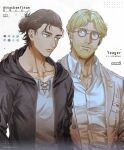 2boys blonde_hair brothers brown_hair brown_jacket collarbone eren_yeager glasses green_eyes highres hood hooded_jacket jacket looking_at_another male_focus mappo_m2 multiple_boys open_clothes open_jacket paradis_military_uniform partially_unbuttoned round_eyewear shingeki_no_kyojin shirt short_hair siblings smile spoilers upper_body white_shirt zeke_yeager