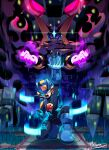 2boys arm_up artist_name aura bass.exe_(mega_man) blank_eyes blue_bodysuit blue_eyes blue_footwear blue_gloves bodysuit boots cape claws commentary_request diffraction_spikes digital_dissolve forehead_jewel gloves glowing glowing_eyes glowing_hands gospel_(mega_man) helmet looking_at_viewer male_focus mcnr mega_man_(series) mega_man_battle_network megaman.exe multiple_boys one_knee open_mouth outstretched_arm red_eyes scratches signature sparkle violet_eyes white_gloves