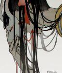 1boy bangs black_hair blurry depth_of_field hair_ribbon hannya kieshi_heta lipstick long_hair looking_at_viewer makeup mask noh_mask okiku_(one_piece) one_piece oni_mask otoko_no_ko red_eyes ribbon simple_background solo string very_long_hair white_background yellow_robe