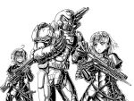 1boy 2girls :o ahoge armor bangs blush doom_(series) doomguy fate/grand_order fate_(series) gauntlets greyscale gun hands_up headpiece helmet highres holding holding_gun holding_weapon jeanne_d'arc_(fate)_(all) monochrome multiple_girls sheath sheathed short_hair standing substance20 sword weapon