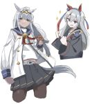 2girls :d animal_ears bangs black_legwear black_shirt black_skirt blue_eyes blue_sailor_collar blush clenched_hands closed_mouth commentary_request cropped_legs doughnut eyebrows_visible_through_hair fang food grey_hair hair_between_eyes hands_up highres holding holding_food horse_ears horse_girl horse_tail jacket long_sleeves multiple_girls oguri_cap_(umamusume) open_clothes open_jacket open_mouth pantyhose pleated_skirt sailor_collar school_uniform serafuku shirt shiwa_(siwaa0419) simple_background skirt smile tail tamamo_cross_(umamusume) umamusume v-shaped_eyebrows white_background white_jacket white_shirt wide_sleeves