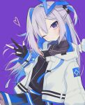 1girl absurdres amane_kanata angel_wings asymmetrical_hair belt black_gloves black_shirt black_skirt blue_belt blue_hair blue_skirt blush breasts commentary eyebrows_visible_through_hair fingerless_gloves frills gloves hair_between_eyes halo head_tilt heart highres hikap hololive hood hooded_jacket jacket jewelry long_hair looking_at_viewer multicolored_hair necklace official_alternate_costume one_eye_closed pink_hair purple_background ribbed_shirt shirt short_twintails silver_hair simple_background skirt small_breasts solo star_(symbol) star_necklace strap streaked_hair twintails two-tone_skirt upper_body v violet_eyes virtual_youtuber white_jacket wings