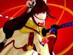 1girl black_hair blush falne holding_weapon japanese_clothes katana kimono long_hair minoto monster_hunter monster_hunter_(series) monster_hunter_rise pointy_ears