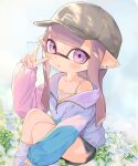 1girl :o artist_name bad_id bad_twitter_id bangs baseball_cap black_shorts blue_flower blue_sky blunt_bangs blunt_ends camisole commentary day dolphin_shorts domino_mask earrings eyebrows_visible_through_hair flower grey_hair grey_headwear grey_legwear grey_shirt hat highres inkling jacket jewelry long_hair long_sleeves looking_at_viewer loose_socks mask multicolored multicolored_clothes multicolored_jacket off_shoulder outdoors parted_lips pioxpioo pointy_ears recolored shirt short_shorts shorts signature sitting sky sleeves_past_wrists solo splatoon_(series) tentacle_hair track_jacket ume_(plumblossom) v violet_eyes zipper