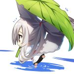 1girl animal_ears bangs chibi commentary_request fox_ears fox_girl fox_tail grey_hair hair_between_eyes highres japanese_clothes kimono leaf_umbrella long_sleeves looking_away obi original patches ponytail profile puddle reflection ripples sash solo tail water white_background white_kimono wide_sleeves yuuji_(yukimimi)