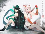 2girls absurdres aqua_hair arknights back-to-back bare_legs bead_bracelet beads black_footwear black_hair black_jacket boots bracelet braid breasts china_dress chinese_clothes chinese_commentary closed_mouth colored_skin dragon_horns dragon_tail dress dusk_(arknights) earrings fan folding_fan full_body green_skin grey_background hair_between_eyes hair_over_one_eye highres holding holding_fan holding_paintbrush horns jacket jewelry l.v.c. long_hair looking_at_viewer medium_breasts medium_hair multicolored multicolored_hair multicolored_skin multiple_girls nian_(arknights) nian_(unfettered_freedom)_(arknights) off_shoulder official_alternate_costume paintbrush pointy_ears ponytail prayer_beads red_eyes red_skin redhead shoes side_slit sidelocks silver_hair simple_background sitting sleeveless sleeveless_dress smile straight_hair streaked_hair tail tassel tassel_earrings two-tone_hair violet_eyes white_dress white_footwear