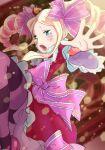 1girl :o arakan beatrice_(re:zero) blush bow crying dress drill_hair long_hair pink_bow pink_footwear purple_legwear re:zero_kara_hajimeru_isekai_seikatsu red_dress sidelocks solo striped striped_legwear twin_drills