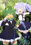 2girls ;d ^_^ absurdres ahoge armpit_peek assault_lily black_legwear brown_footwear closed_eyes day fang green_eyes green_hair green_legwear highres hose jumping loafers megami_magazine multiple_girls official_art one_eye_closed open_mouth outdoors outstretched_arms purple_hair scan school_uniform shoes skin_fang smile spread_arms sunlight tan thigh-highs umeshita_manami water yoshimura_thi_mai