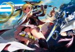 3girls ankle_wings ass bangs bardiche belt beret black_gloves black_legwear black_wings blonde_hair book boots breasts brown_eyes brown_hair cape clouds detached_sleeves energy_sword eyebrows_visible_through_hair fate_testarossa fingerless_gloves floating gauntlets gloves hair_ribbon hat juliet_sleeves long_hair long_sleeves looking_back lyrical_nanoha magical_girl mahou_shoujo_lyrical_nanoha mahou_shoujo_lyrical_nanoha_reflection mikazuki_akira! multiple_girls multiple_wings open_mouth parted_bangs puffy_sleeves ribbon schwertkreuz short_hair short_twintails skirt sky small_breasts staff strike_cannon sword takamachi_nanoha thigh-highs tome_of_the_night_sky twintails very_long_hair weapon white_cape white_skirt wings yagami_hayate