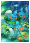 border commentary_request creature gen_3_pokemon highres kikuyoshi_(tracco) lily_pad looking_back lotad marshtomp mudkip no_humans open_mouth pokemon pokemon_(creature) ripples signature starter_pokemon swimming tongue water white_border