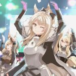 3girls animal_ear_fluff animal_ears arknights armor arms_up aunt_and_niece bangs black_headwear blemishine_(arknights) blonde_hair blue_eyes breastplate cape dancing eyebrows_visible_through_hair fur-trimmed_cape fur_trim garrison_cap grimjin hair_between_eyes hat headphones headset high_ponytail highres horse_ears horse_girl horse_tail kingdom_of_kazimierz_logo long_hair long_sleeves multiple_girls nearl_(arknights) one_eye_closed parody plate_armor siblings sisters smile stage tail umamusume whislash_(arknights) white_cape yellow_eyes yellow_tail